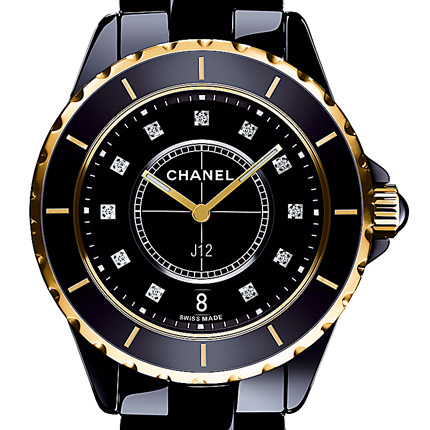 часы Chanel Céramique noire, or rose / cadran 11 index diamants
