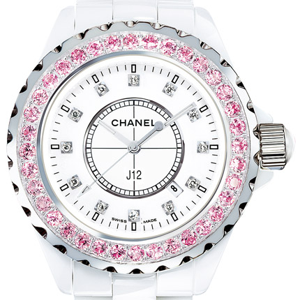 часы Chanel J12 Céramique blanche / Lunette un rang serti saphirs roses, cadran index diamants