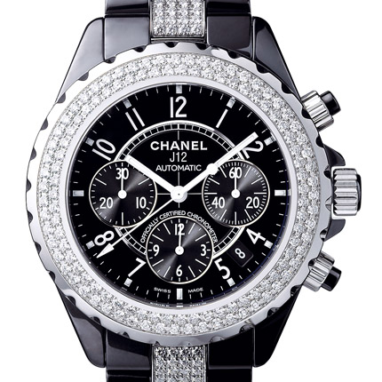 часы Chanel J12 Chronographe céramique noire serti diamants