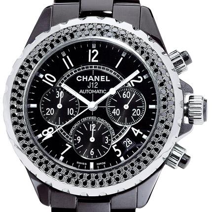 ���� Chanel J12 Chronographe céramique noire serti diamants noirs