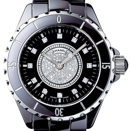 часы Chanel J12 Céramique noire, cadran pavé + 12 index diamants
