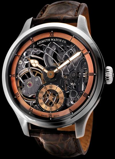 ���� Azimuth Officer-Squelette Art Deco (Rose gold dial)