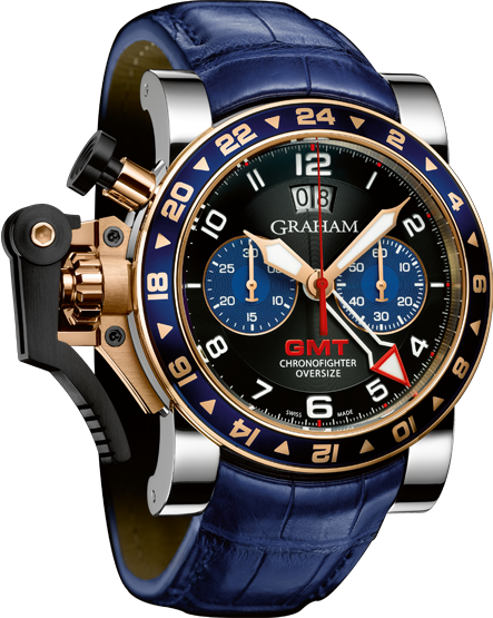 часы Graham CHRONOFIGHTER OVERSIZE GMT BLUE STEEL & GOLD