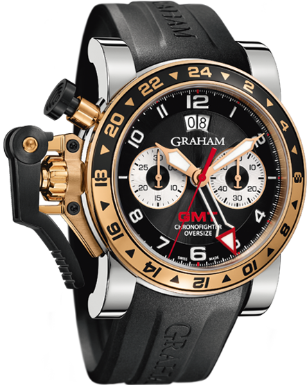 часы Graham CHRONOFIGHTER OVERSIZE GMT BLACK STEEL & GOLD