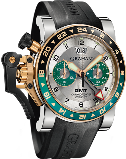 часы Graham CHRONOFIGHTER OVERSIZE GMT SILVER BRG STEEL & GOLD