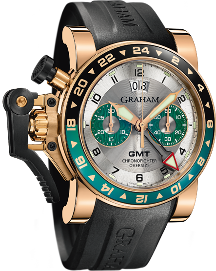 ���� Graham CHRONOFIGHTER OVERSIZE GMT SILVER BRG GOLD