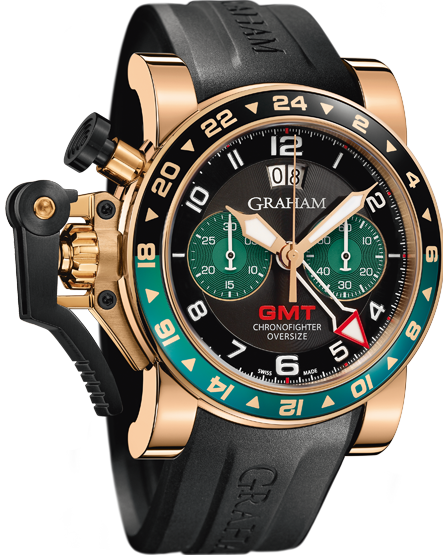 часы Graham CHRONOFIGHTER OVERSIZE GMT BLACK BRG GOLD