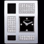 Or blanc 18 carats / Cadran noir 4 diamants
