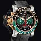CHRONOFIGHTER OVERSIZE GMT BLACK BRG STEEL & GOLD