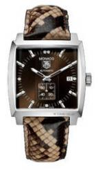 Monaco Automatic (SS / Brown-Diamonds / Leather)