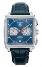 Monaco Automatic Chronograph (SS / Blue / Leather)