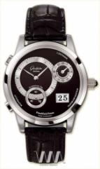Glashutte Original Panomaticvenue (Pt / Black_Silver / Leather)