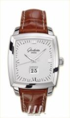 Glashutte Original Senator Karree Panorama Date with Manual Winding (SS / Silver / Leather)