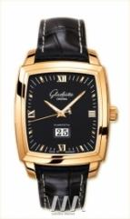 Glashutte Original Senator Karree Panorama Date with Manual Winding (RG / Black / Leather)