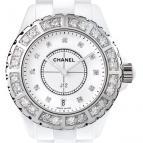 Céramique blanche lunette acier sertie et cadran 11 index diamants