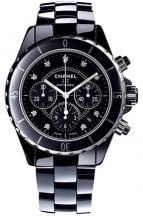 часы Chanel Chrono céramique noire, cadran 9 index diamants