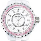 J12 Céramique blanche / Lunette un rang serti saphirs roses, cadran index diamants