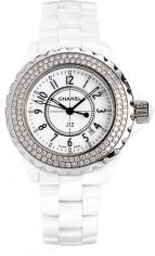 часы Chanel J12 Céramique blanche sertie diamants