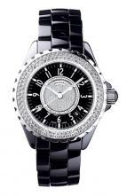часы Chanel J12 Céramique noire lunette sertie et cadran pavé diamants