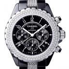 J12 Chronographe céramique noire serti diamants