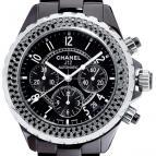 J12 Chronographe céramique noire serti diamants noirs