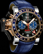 CHRONOFIGHTER OVERSIZE GMT BLUE STEEL & GOLD